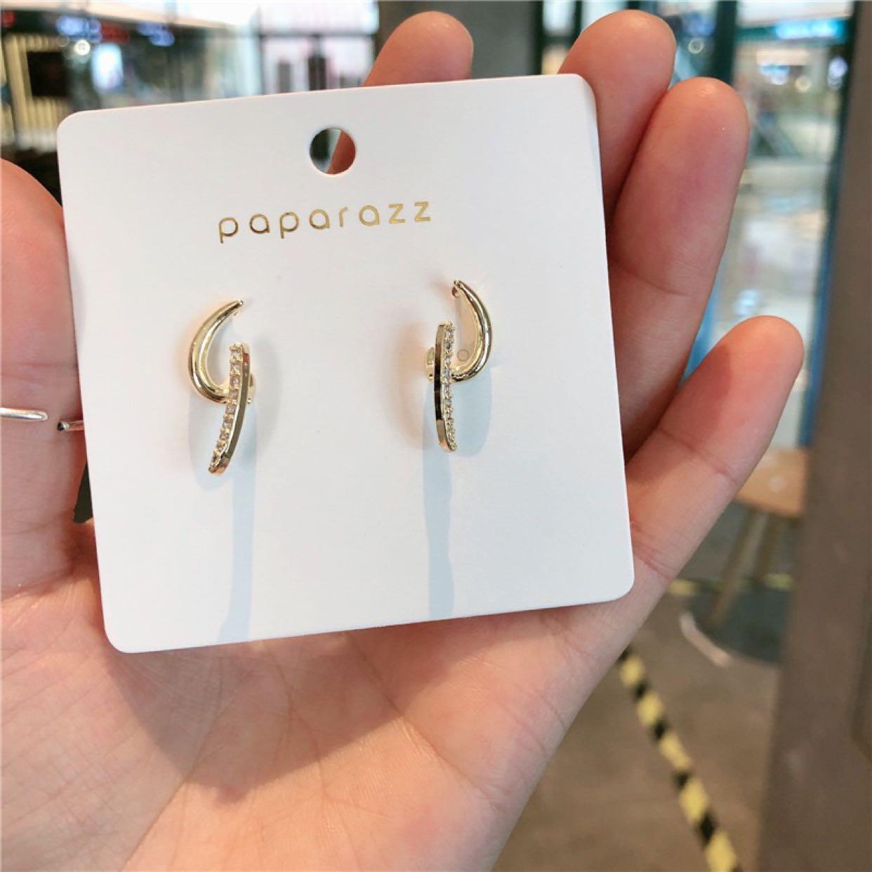 S925银针韩国东大门款极简几何扬帆耳钉微镶线条百搭小耳环耳饰