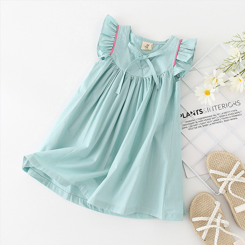 Shell family summer 2020 Korean new embroidered childrens dress with flying sleeves