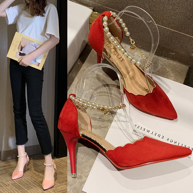 Womens fashion single shoes summer new Korean pointy thin high-heeled professional womens shoes creative versatile flannelette high-heeled shoes