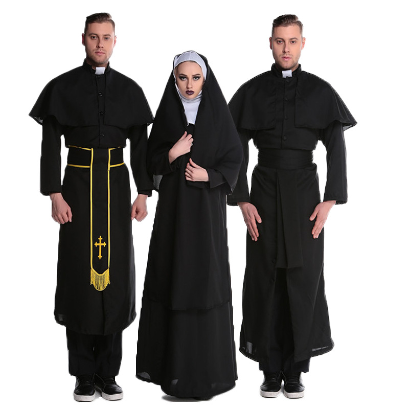 Halloween mens priests and nuns role play clothes lovers Cosplay pastors clothes repair womens stage clothes