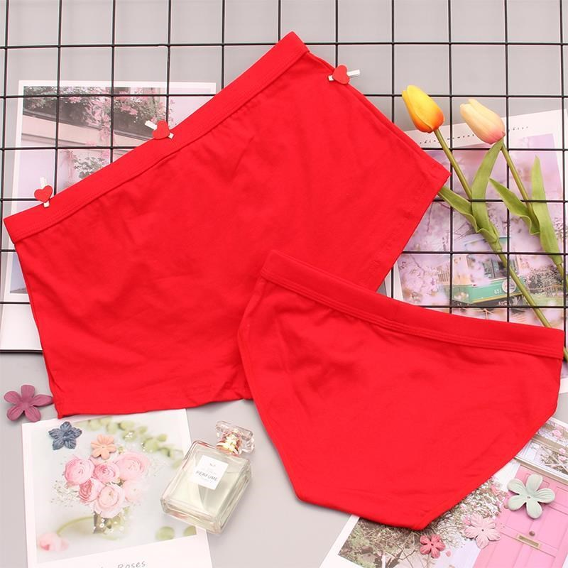 。 Red underwear wedding couple shorts male red female male and female newlywed boy happy man woman a couple of brides