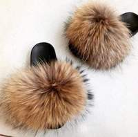 Fox Hair Slippers Women Fur Home Fluffy Sliders Plush Furry