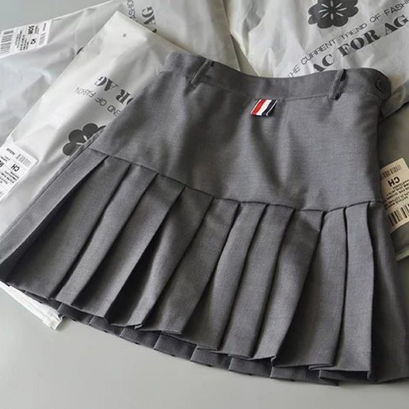 Grey high waist TB pleated skirt short skirt womens summer college wind proof light proof suit skirt A-line slim skirt pants