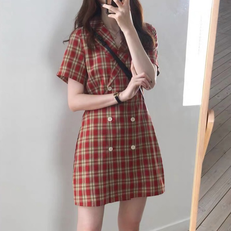 Summer 2020 new womens dress British style retro Plaid light ripe style dress with French waistband showing thin temperament