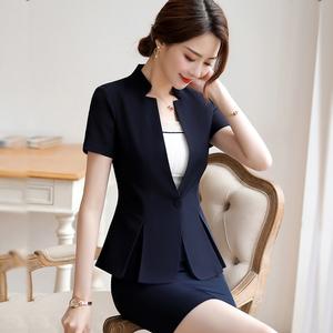 职业套装女夏季新款气质时尚西装短袖小西服OL套裙正装工作服气质