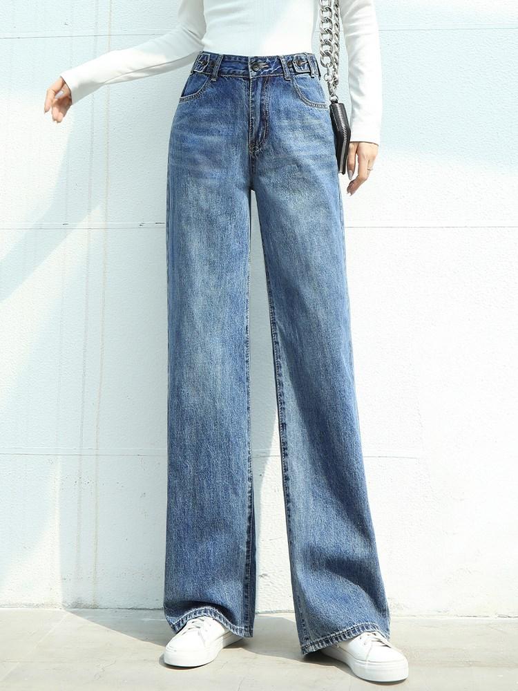 欧货新款牛仔阔腿裤女显瘦高腰拖地裤垂感春秋装宽松洋气直筒长裤