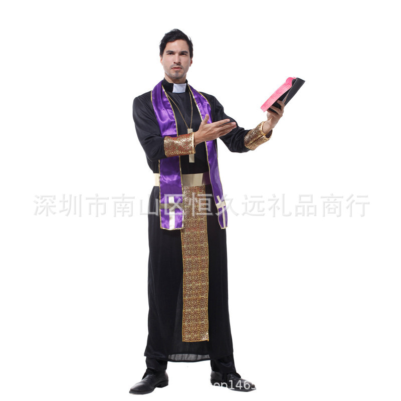 Halloween masquerade ball adult Jesus priest costume pastor role play costume missionary Costume