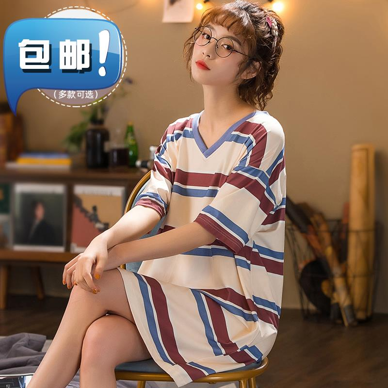 Medium length. Nightdress cotton pajamas 2020 new fashion belt bra can go out e comfortable Korean dress is over the knee