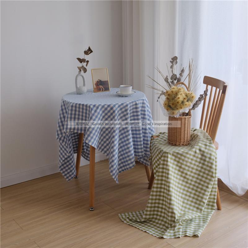 蓝色格子桌布绿格民宿工作室咖啡馆韩风ins复古野餐布摆拍背景