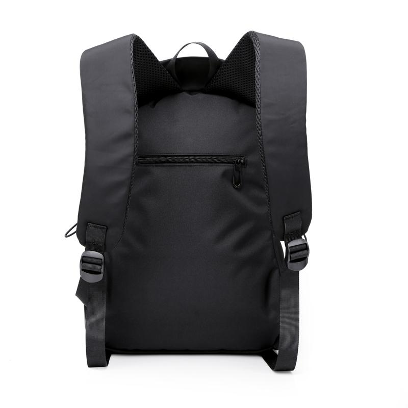 Waterproof nylon double shoulder bag solid color versatile smooth surface fashion mens schoolbag large capacity Japanese and Korean business computer backpack