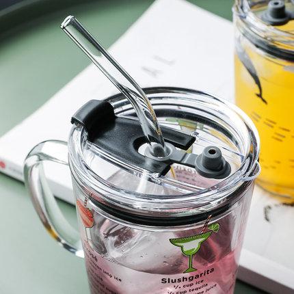 手柄耐热玻璃计量刻度儿童吸管杯