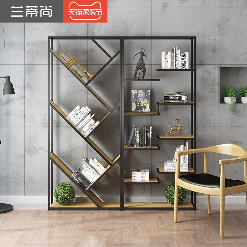 美式实木书架创意餐厅隔断可移动铁艺屏风办公室置物架客厅屏风架