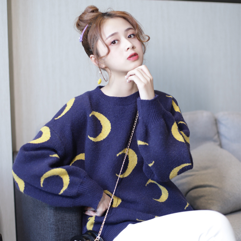 Autumn and winter 2019 new color contrast jacquard moon pattern Pullover womens loose and lazy knitwear bottoming top