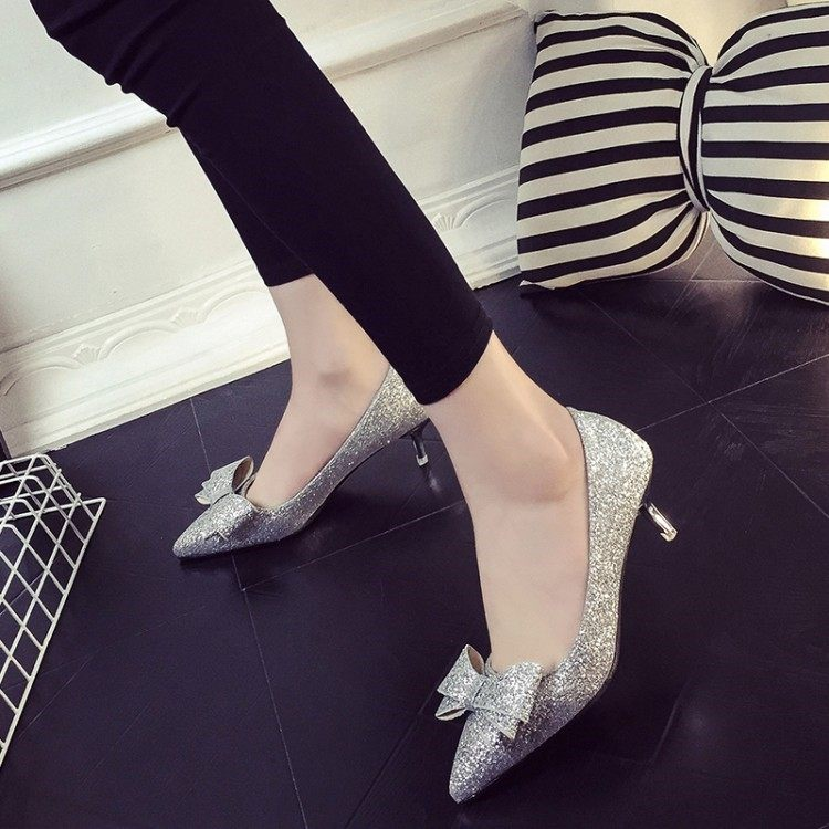 Silver sparkle crystal wedding gauze high heeled shoes slim heels bridal shoes Bridesmaid red low heeled womens shoes