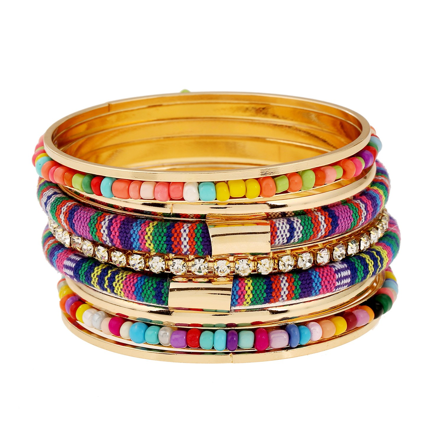 New ins new Bohemian alloy Color Bracelet with rice beads pasted fabric and multi-layer Bracelet