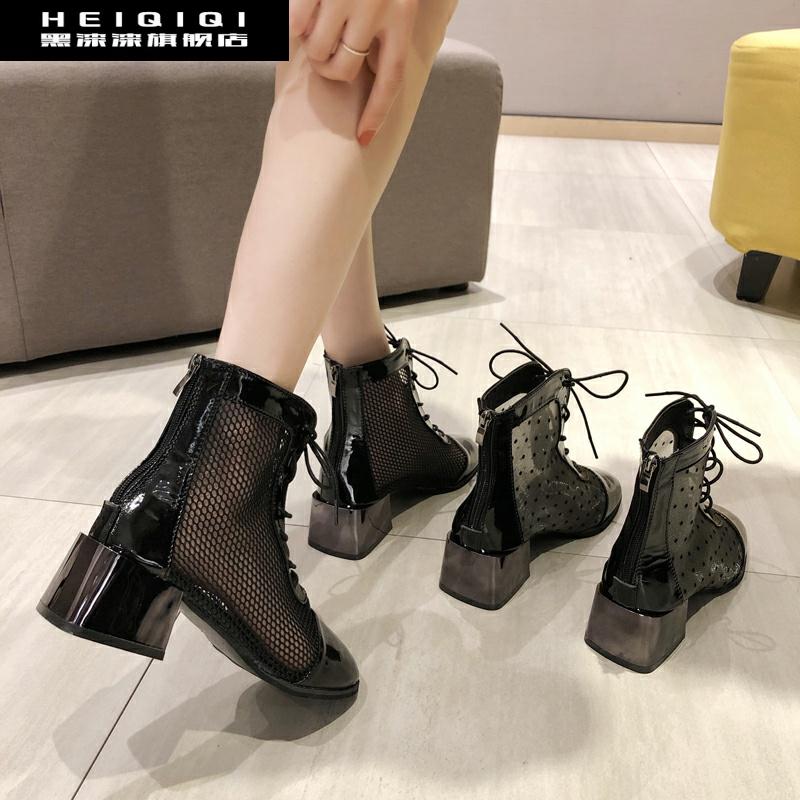 网纱凉靴子女镂空新款2019短靴夏季马丁靴透气粗跟高跟鞋罗马凉鞋