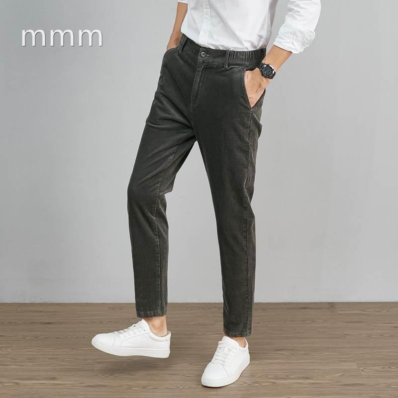 男士灯芯绒休闲裤男春秋季宽松小脚2021年新款裤子男潮流百搭kz