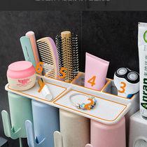 牙刷架套装免打孔四口放刷牙杯子的牙膏牙刷置物架壁挂牙具盒牙缸