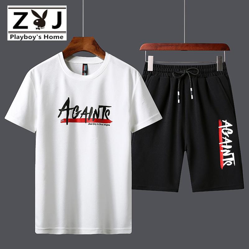 花花公子之家运动套装男夏季薄款短袖短裤速干五分跑步服健身衣服