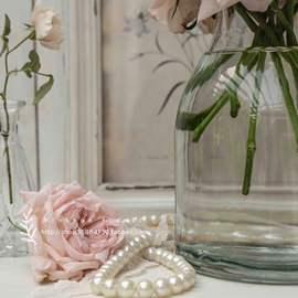 北欧INS简约欧美式田园透明玻璃水培养干鲜花束插大口径花瓶家居图片
