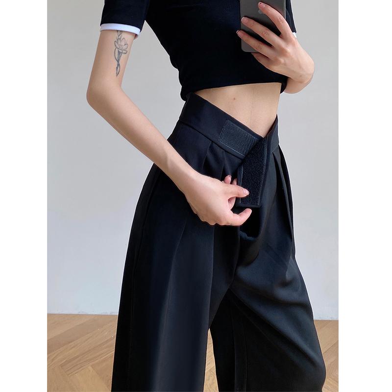夏季薄款黑色阔腿裤女小个子高腰垂感休闲宽松拖地冰丝西装直筒裤