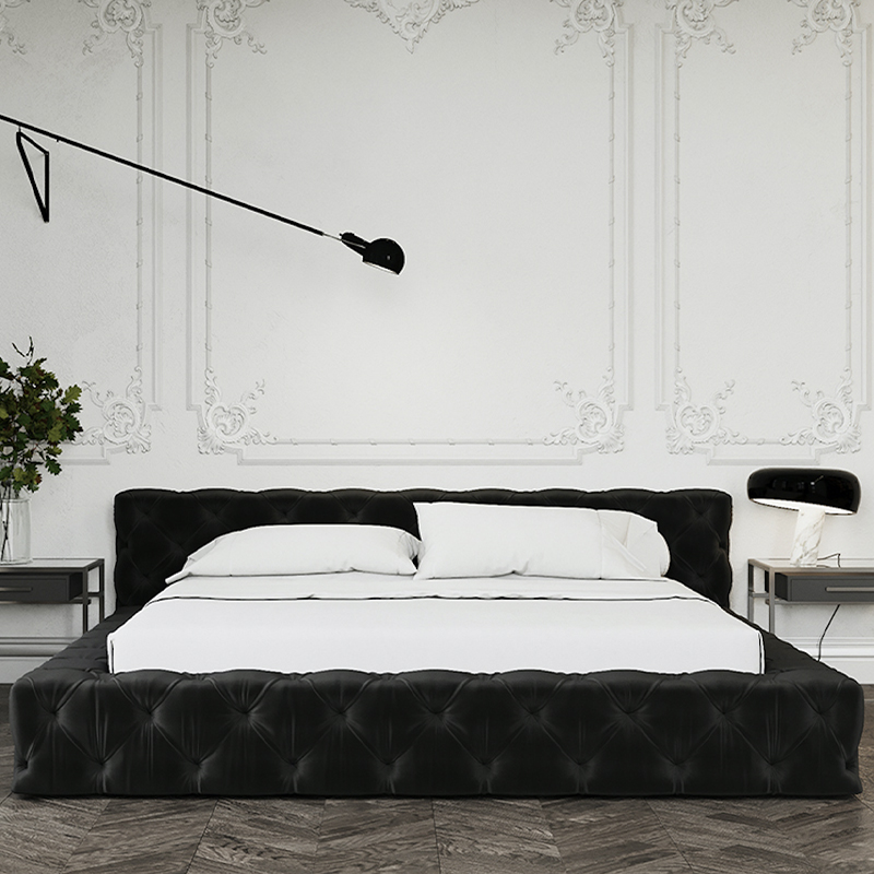 Customized tatami floor bed master bedroom big soft bag bed cloth art bed double bed luxury modern simple short bed