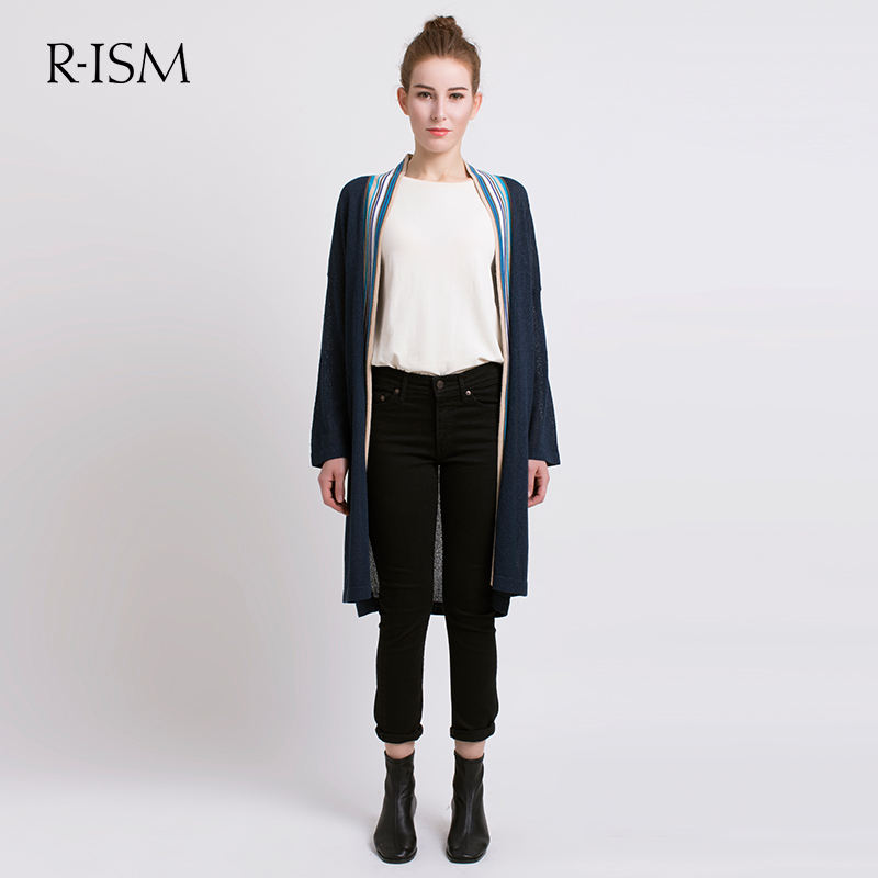 Rism2020 spring new medium length knitted cardigan womens color striped V-neck jacket