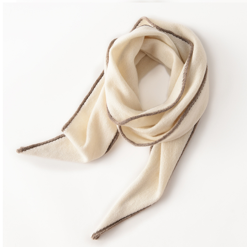 Pure cashmere knitted small scarf triangular decorative scarf fashion splicing comfortable warmth and neck protection in spring and autumn and winter