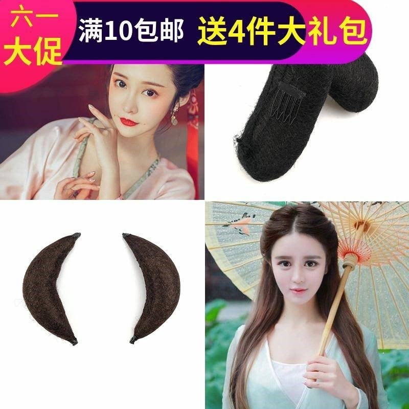 Ancient costume wig ox horn bag ancient style hair bun wig stick horn cushion contract performance Xiao Long Nv hair piece