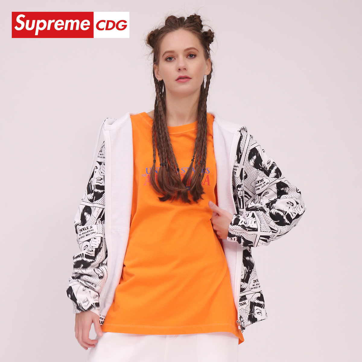 Supreme CDG 2020年春季新款 休閑街頭時尚衛衣男女同款拉鏈外套