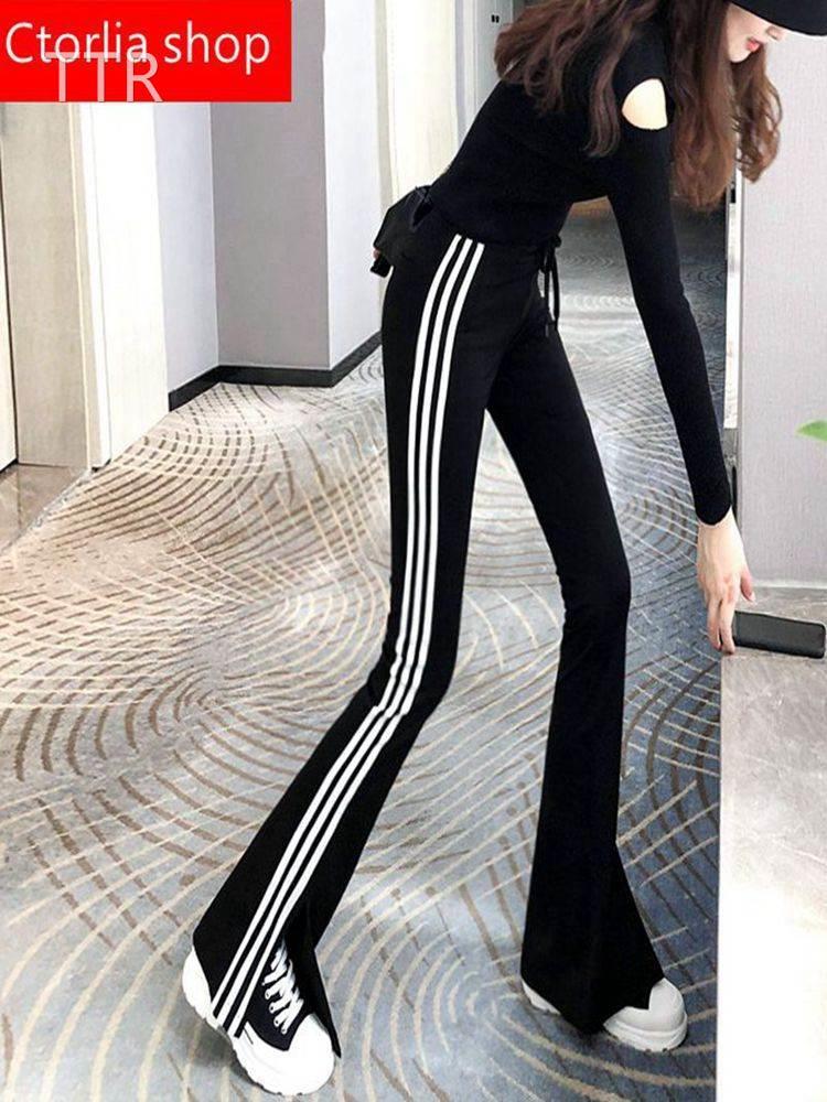 Korean side striped split micro flared pants womens 2021 new high waist slim, loose, floor dragging leisure wide leg pants