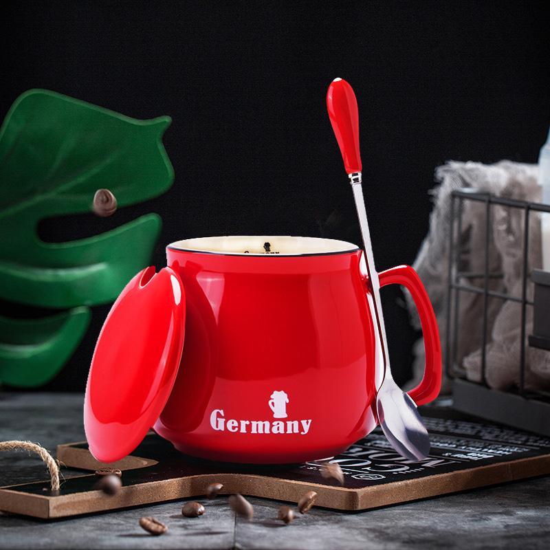 马克杯带盖勺咖啡杯创意时尚潮流陶瓷杯子水杯早餐杯办公室牛奶杯