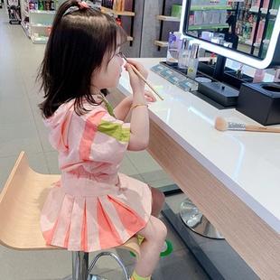 2020夏季新款童裝女童韓版連帽運動套裝兒童學院風短袖+短裙套裝