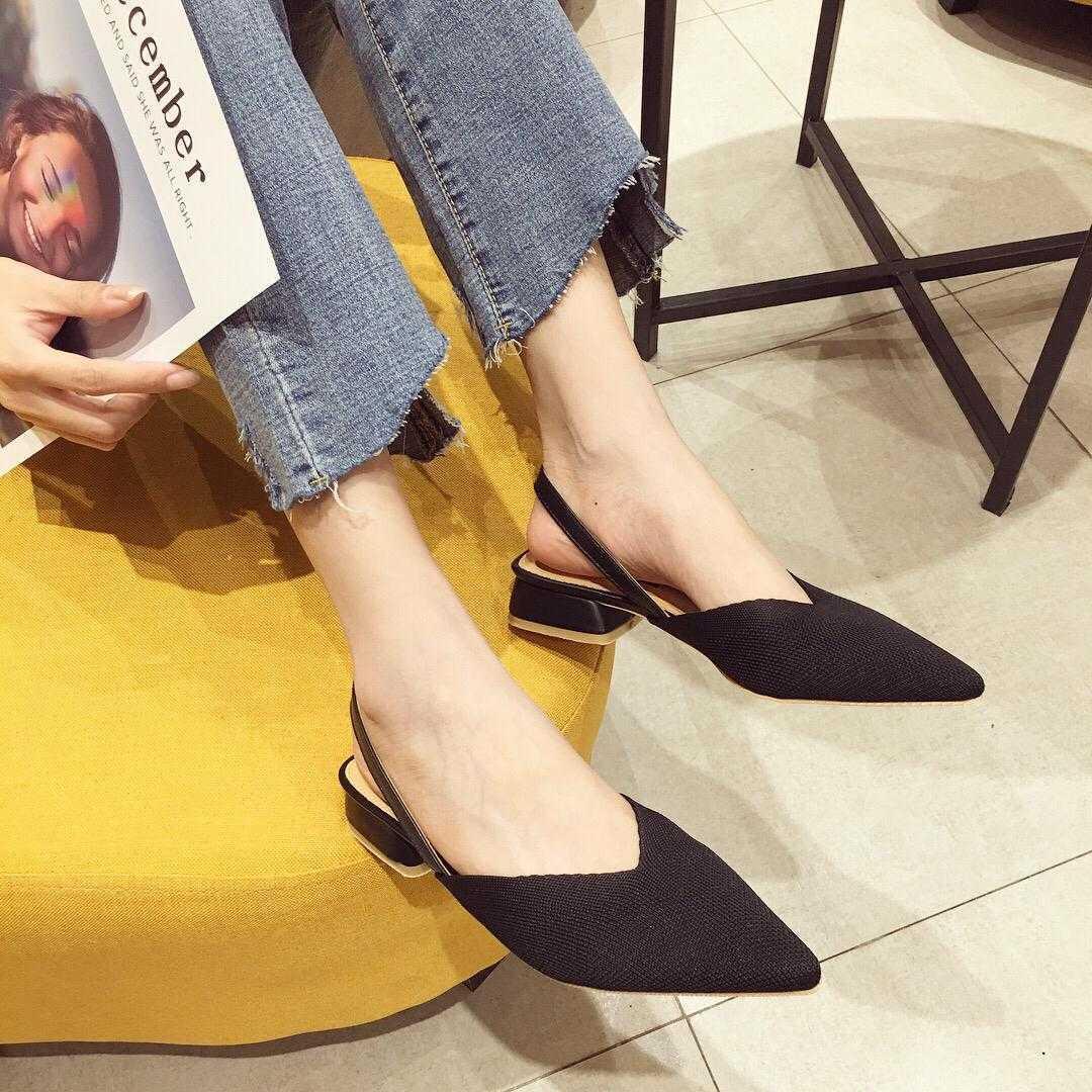2019春夏新款韩国东大门针织V口尖头单鞋百搭高跟包头后空凉鞋女