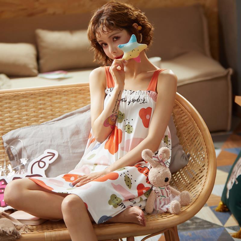 萨玛派睡衣女夏薄款短袖睡裙子装学生ins 韩版女士春秋夏天家居服