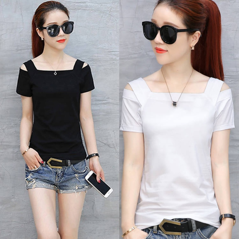 5 Summer Short Sleeve T-Shirt womens Korean off shoulder suspender one word collar slim body show thin T-Shirt Top Womens fashion