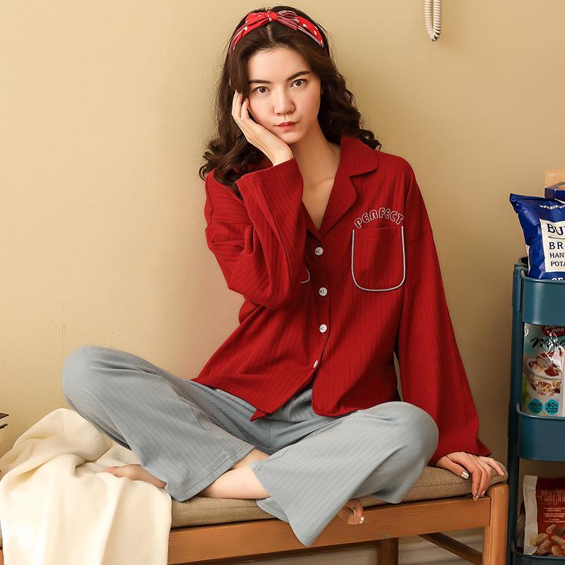 2020新款睡衣女薄款春季长袖纯棉睡衣韩版休闲家居服套装