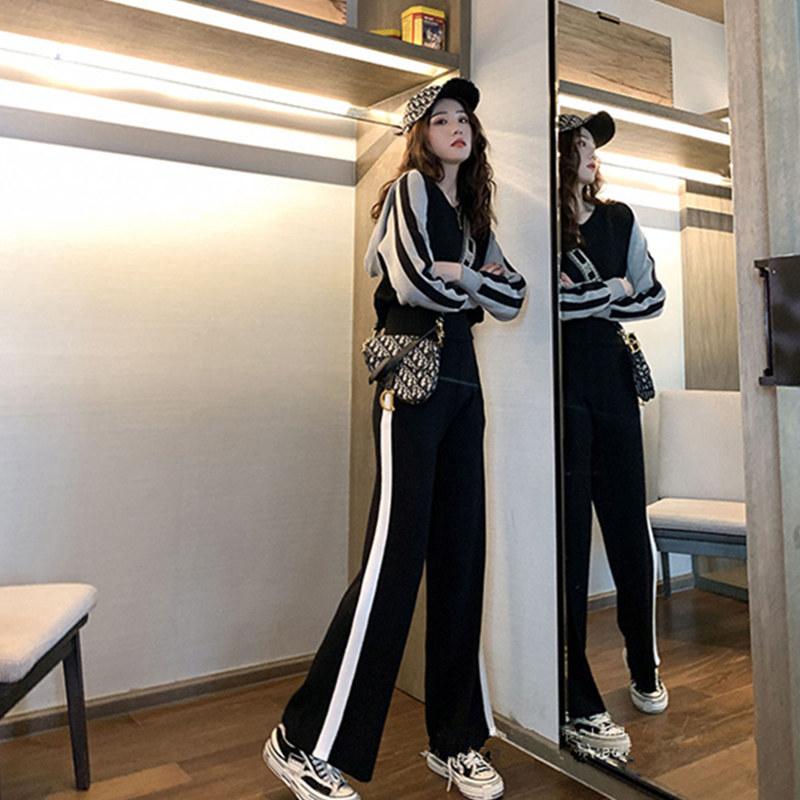 Early autumn 2021 new wide leg pants two-piece suit female slim fit high waist versatile sports fashion suit female