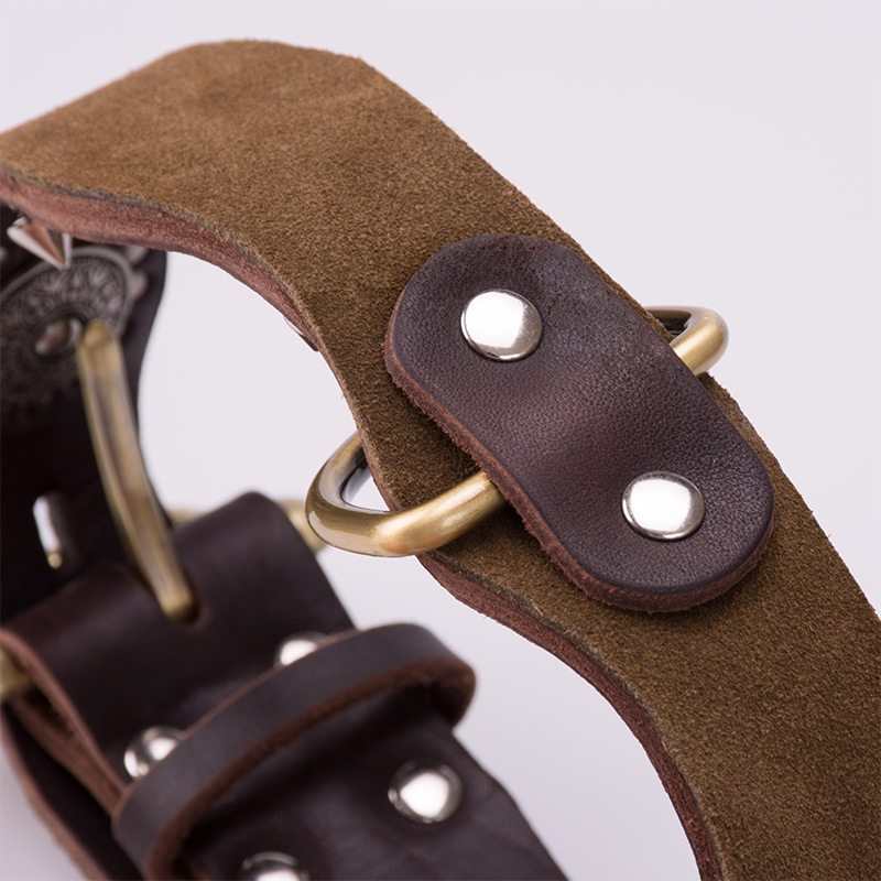 Retro cowhide dog collar large dog collar rivet anti biting leather domineering bull fighting golden dog neck cover