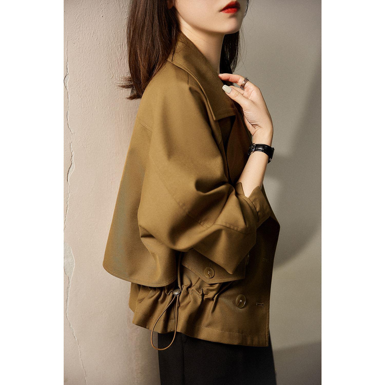 。 British antique 7 temperament waist closing coat coat raglan sleeve womens width + suit Lapel elwt loose 45-52