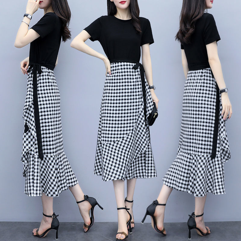 One piece / suit new plaid skirt with cotton