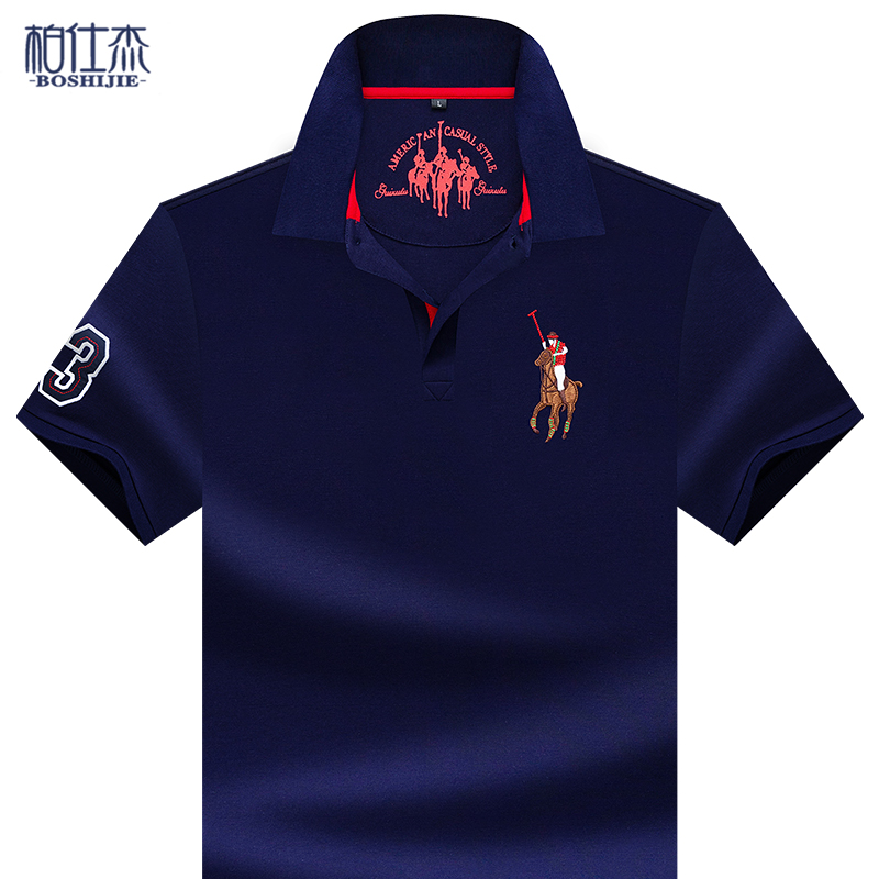 Summer cotton Lapel embroidery mens T-shirt polo shirt half sleeve knitting Paul short sleeve t-shirt mens top middle age