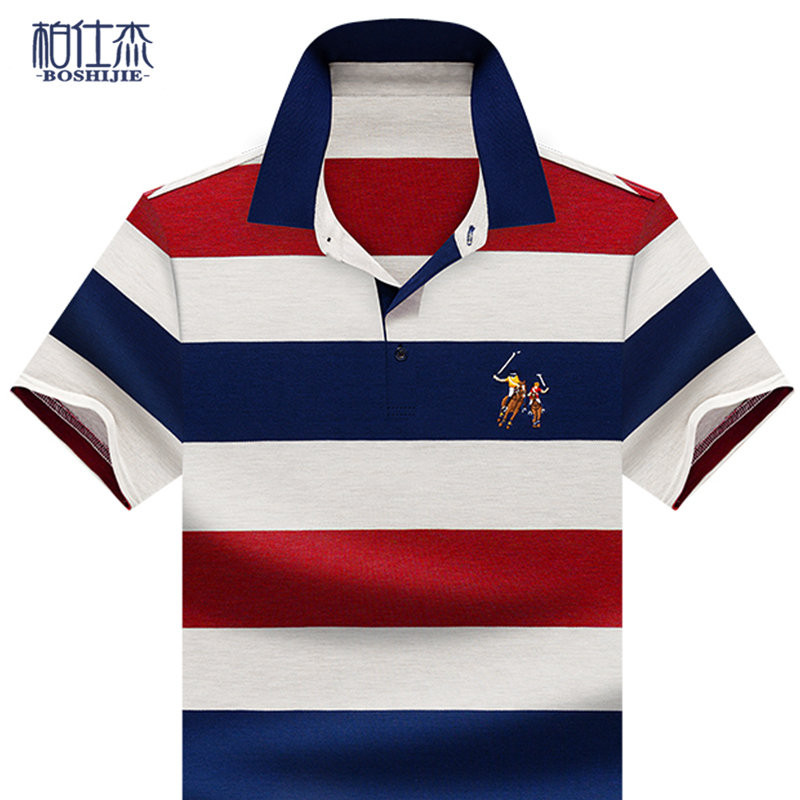 Bosijie 2020 new mens short sleeve T-shirt embroidered Lapel color wide stripe middle aged mens Polo Shirt