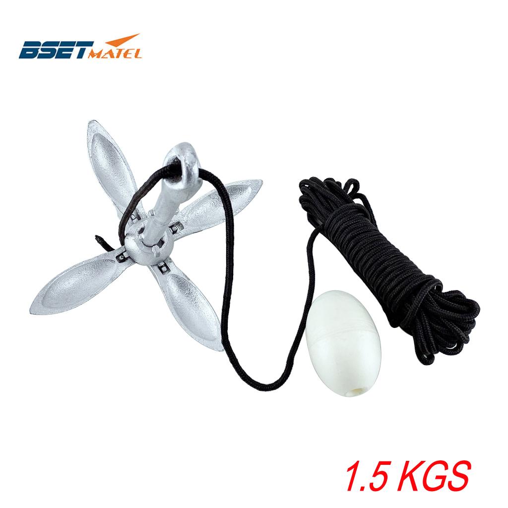 BSET MATEL 1.5公斤高密度碳钢镀锌折叠船锚 伞形锚 莲花锚 船用