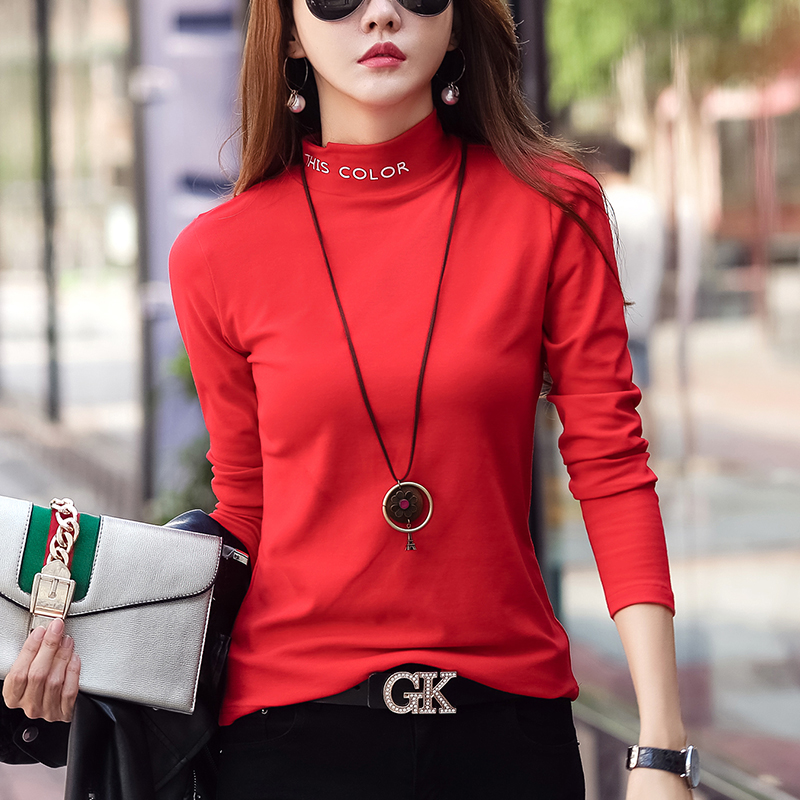 Europe station 2020 new autumn cotton pure color T-shirt top female red long sleeve half high collar base coat