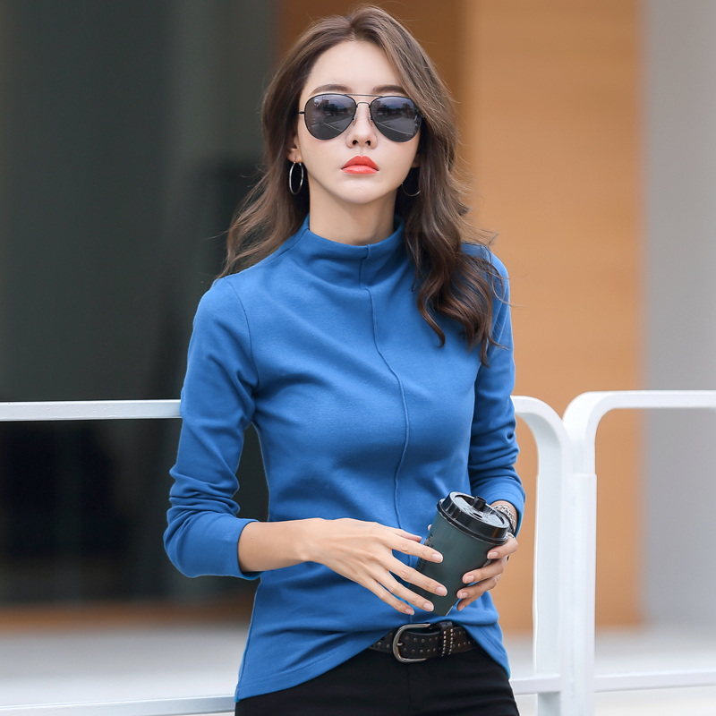 Autumn and winter new semi high collar bottomed shirt womens foreign style fashion chest rut Plush Top Long Sleeve T-Shirt