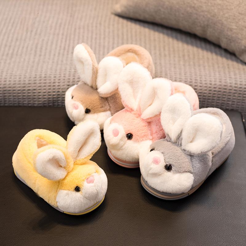 冬季可爱包跟男女童毛毛儿童棉拖鞋