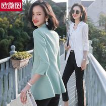 白色小西装外套女薄款夏季气质中长款女士西服七分袖上衣职业套装