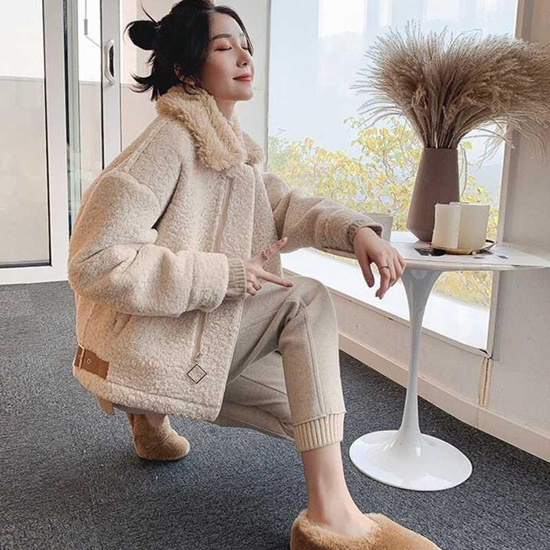 Granular cashmere lamb coat womens all-in-one short thickened Korean fur Motorcycle Jacket
