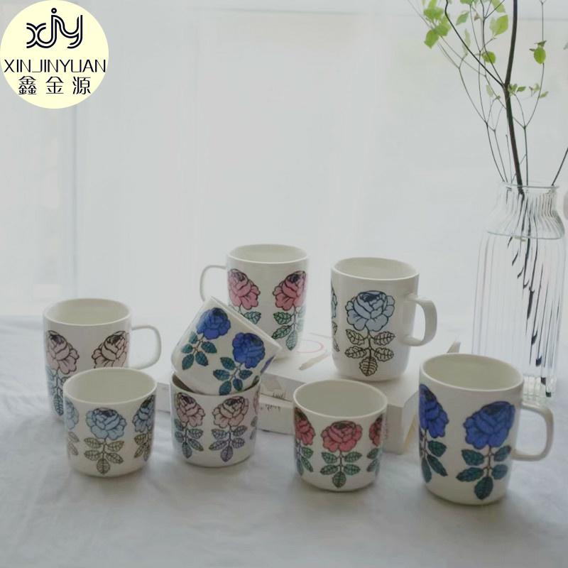 杂置社北欧玫瑰花朵经典马克杯牛奶杯无柄一手杯手握杯咖啡杯
